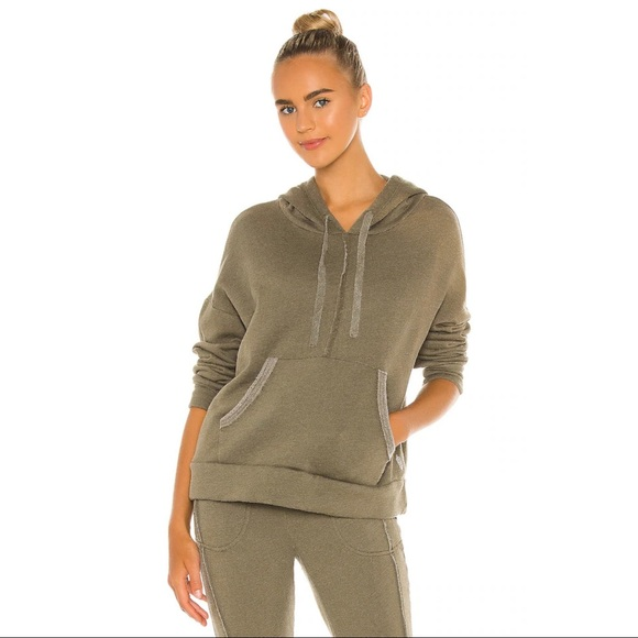 Free People Work It Out Hoodie in Army Size Large